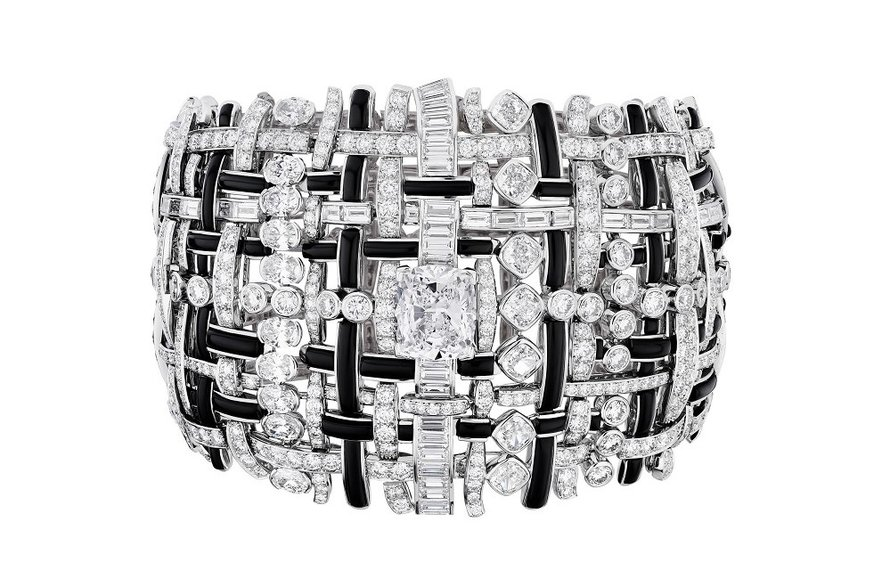 Tweed Graphique armband, 18-karaat goud, onyx en diamant